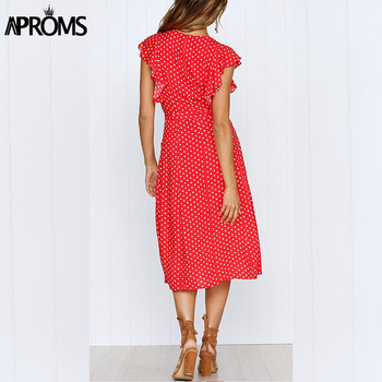 Aproms Boho Polka Dot Print Dress Women Casual Sleeveless V Neck Red Sundress Midi Dress female Beach A-line Dress Vestidos 2020 1
