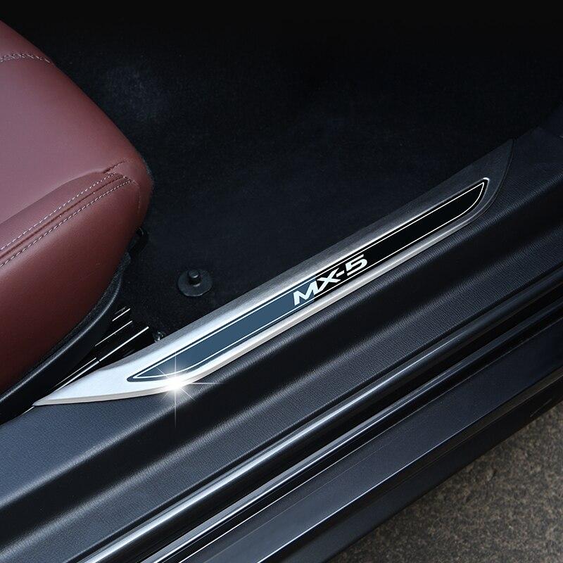 Для Mazda MX-5 РФ ND MX5 Нержавеющаясталь порога педаль протектор накладка планки аксессуары порог машины