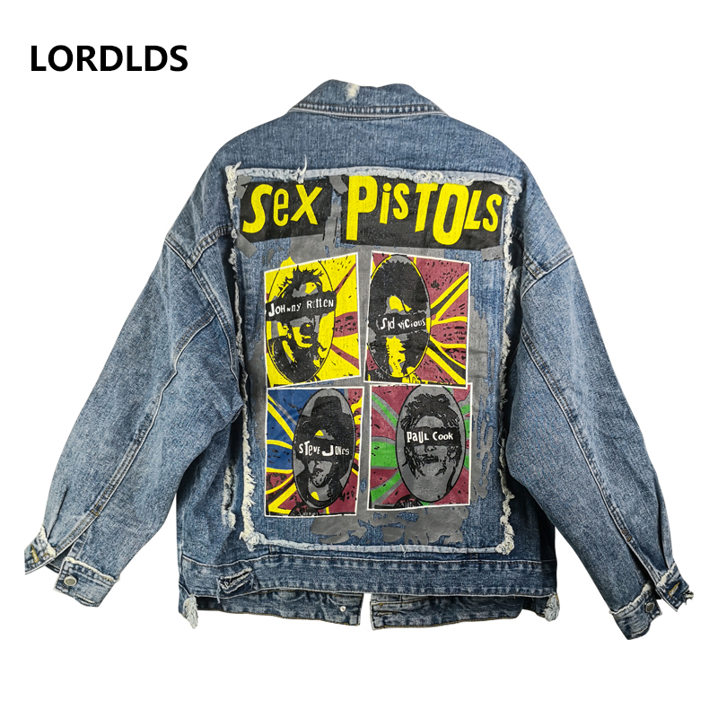 LORDLDS Jeans Jacket Plus-Size Cotton Coats Patchwork Print Streetwear Hole And