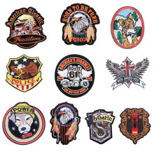 Animal Badge Patches for Clothing Iron on Embroider Sew Applique Eagle Wolf Dog Cat snake Apparel Patch Accessories Decoration