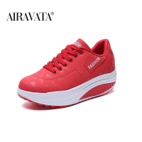 Red-Women Platform Running Shake Shoes Thick Bottom Wedges Sneakers