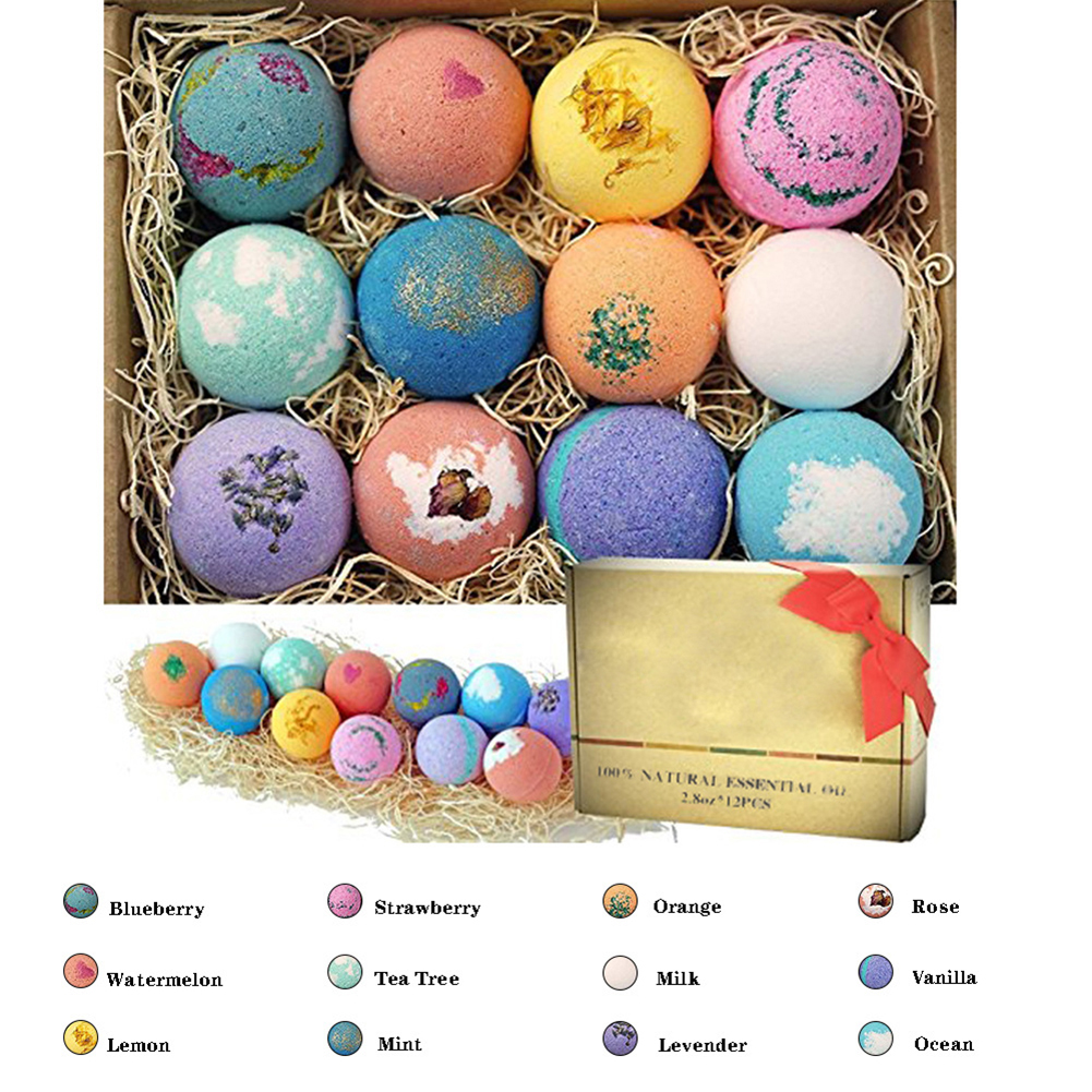 12Pcs Bath Salt Ball Bubble Shower Bombs Ball Body Cleaner Stress Relief Aromatic Moisturizing Exfoliating Skin Care Shower Ball