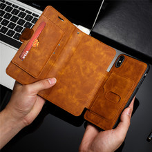 Retro PU Leather Case For iPhone 7 6 6S 8 Plus Case iPhone X XS Max XR Case Cover Detachable 2 in 1 Multi Card Wallet Phone case detachable 2 in 1 magnetic absorbed oil buffed leather wallet case for iphone 6 plus 6s plus red