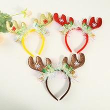 Headband Christmas Antlers Adult Coarse-Powder Color-Bar Orna Children