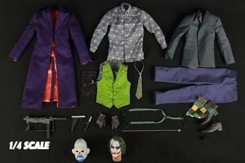 MAX TOYS JK01 1/4 Joker Heath Ledger Head & Clothes Set DIY Action Figure Accessories 1 4 scale joker heath ledger head