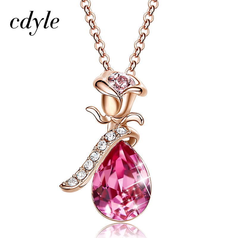 Cdyle Boho Jewelry Gold Necklace Chain Pink Crystal Rose Flower Pendant Necklace with Zircon for Female Wedding Anniversary Giftrose goldcrystal crystalnecklace crystal -