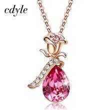 Cdyle Boho Schmuck Gold Halskette Kette Rosa Kristall Rose Blume Anhänger Halskette mit Zirkon für Weibliche Hochzeitstag Geschenk