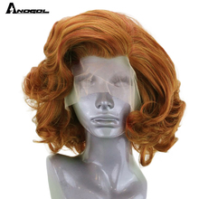 Anogol Auburn Orange Synthetic Lace Front Wig High Temperature Fiber Short Body Wave Bob Wig with Free Part for Women
