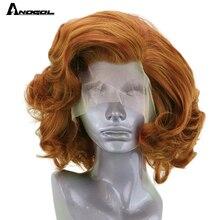 Anogol auburn laranja peruca dianteira do laço sintético fibra de alta temperatura curto onda corpo bob peruca com parte livre para mulher