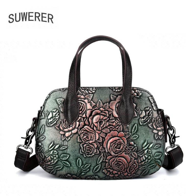 SUWERER Women Genuine Leather bag luxury handbags women bags designer bags famous brand women bags 2019 new fashion Embossed bag