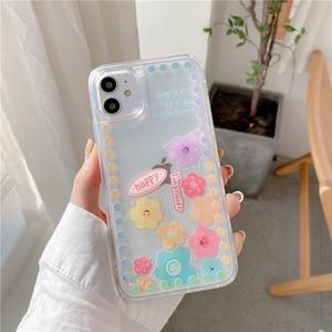 Image 3 - Liquid Quicksand Sliding flowers Phone case For iphone 12 11 pro max 12mini XS MAX X XR 7 8 6S 6 Plus SE2 transparent cover Case
