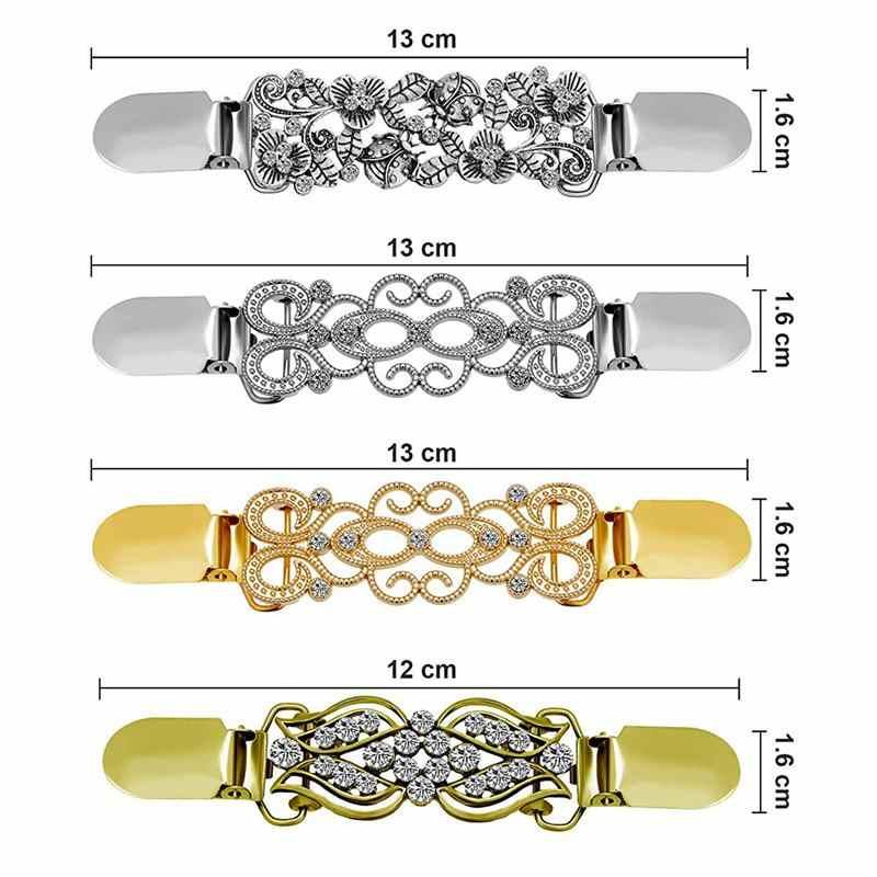 Nieuwe 4 Stuks Vintage Trui Shawl Clip Jurken Vest Kraag Clip Bloem Patronen Clip Voor Vrouwen Meisjes, stijl Set 3