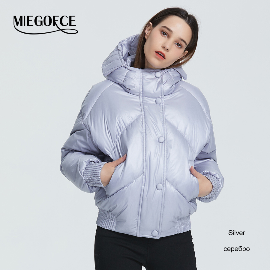 MIEGOFCE 2020 New Design Winter Coat Women's Jacket Insulated Cut Waist Length With Pockets Casual Parka Stand Collar Hooded 11