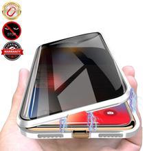 Защитный Магнитный чехол из закаленного стекла для iPhone 11 Pro Max XS MAX XR X 8 7 6s 6 Plus, магнитный металлический бампер, защита от подзорья