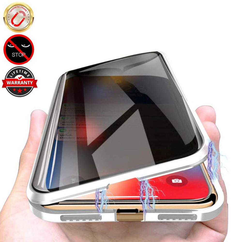 Privacy Tempered Glass <font><b>Magnetic</b></font> <font><b>Case</b></font> for <font><b>iPhone</b></font> 11 Pro Max XS MAX XR X <font><b>8</b></font> 7 6s 6 Plus Magnet Metal Bumper Anti-Peeping Cover image