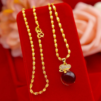 Exquisite Gold 14K Necklace for Women Wedding Engagement Jewelry Lucky Bag Rubby Stone Pendant with Chain Party Birthday Gifts korean real 24k gold necklace pendant for women gold jewelry lucky fish pendant chain necklace choker anniversary birthday gifts