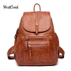 Image 2 - WESTCREEK Brand Women Backpack High Quality Leather Fashion School Backpacks Female Feminine Casual Large Capacity