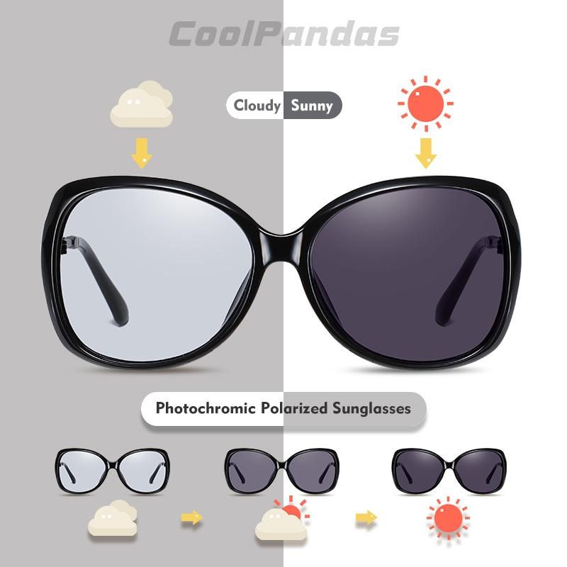 Фотохромные поляризованные женские солнцезащитные очки, большие Винтажные Солнцезащитные очки кошачий глаз UV400 2020
