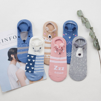 5pair women's lovely cartoon ankle socks spring summer and autumn fashion short sock woman's and ladies funny cotton socks spring and summer flamingo and fox series woman cotton lovely socks painting lady female boat socks short ankle women socks
