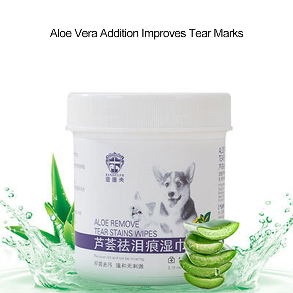 100Pcs Pet Eye Wet Wipes Cat Dog Tear Stain Remover Gentle Non-intivating Cleaning Wipes Cleaning Paper Towels