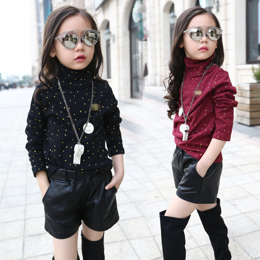 Faux Leather Short Girls Winter Fleece Warm Thick Short Pants Children Casual Solid Leather Bottom 2