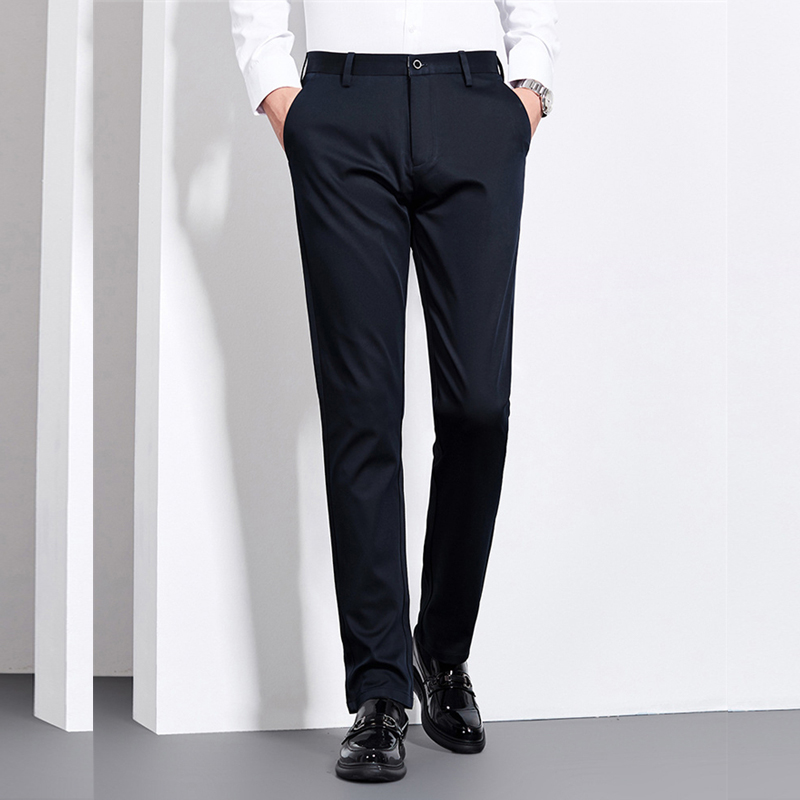 Image 3 - 2019 Winter New Mens Warm Casual Pants Fashion Business Solid  Color Thick Elasticity Brand Trousers Black NavyCasual Pants   -