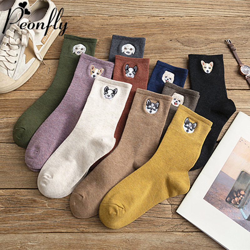 PEONFLY 1 Pair Autumn Winter Cotton Socks Women Cute Cartoon Embroidery Dog Printed Calcetines Casual Women Cotton Socks