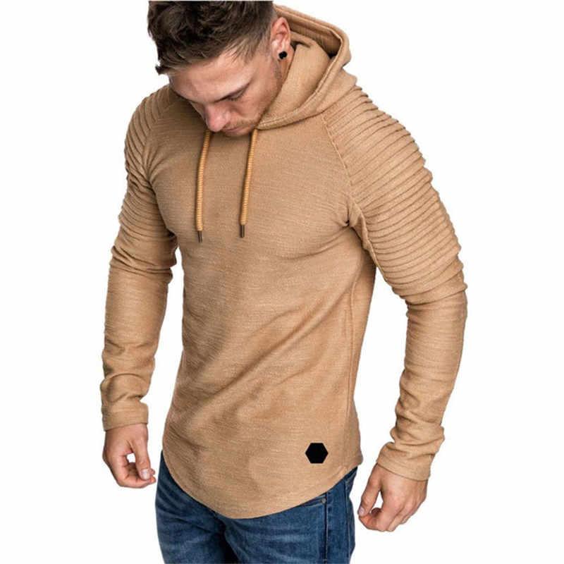 แฟชั่นบุรุษ Hoodies แบรนด์ผู้ชายของแข็งสี Hooded Slim เสื้อกันหนาวผู้ชาย Hoodie Hip Hop Hoodies ฤดูใบไม้ร่วงใหม่ชาย pullovers