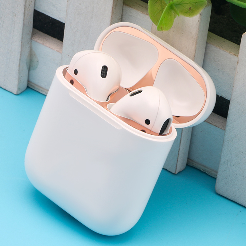 Metal Dust Guard Sticker For Airpods 1 Earphone Case For AirPods Protective Sticker Skin Protector For Apple Airpods Accessories