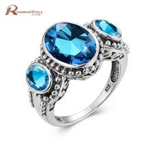 Anillo de Topacio azul para mujer, plata 925, piedras preciosas, joyería ovalada de lujo, anillo de compromiso Vintage para bodas, Anillos de joyería fina