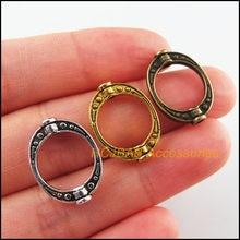 35 pçs retro tibetano prata antiguidade ouro bronze tom oval moldura espaçador contas encantos 14.5x19.5mm