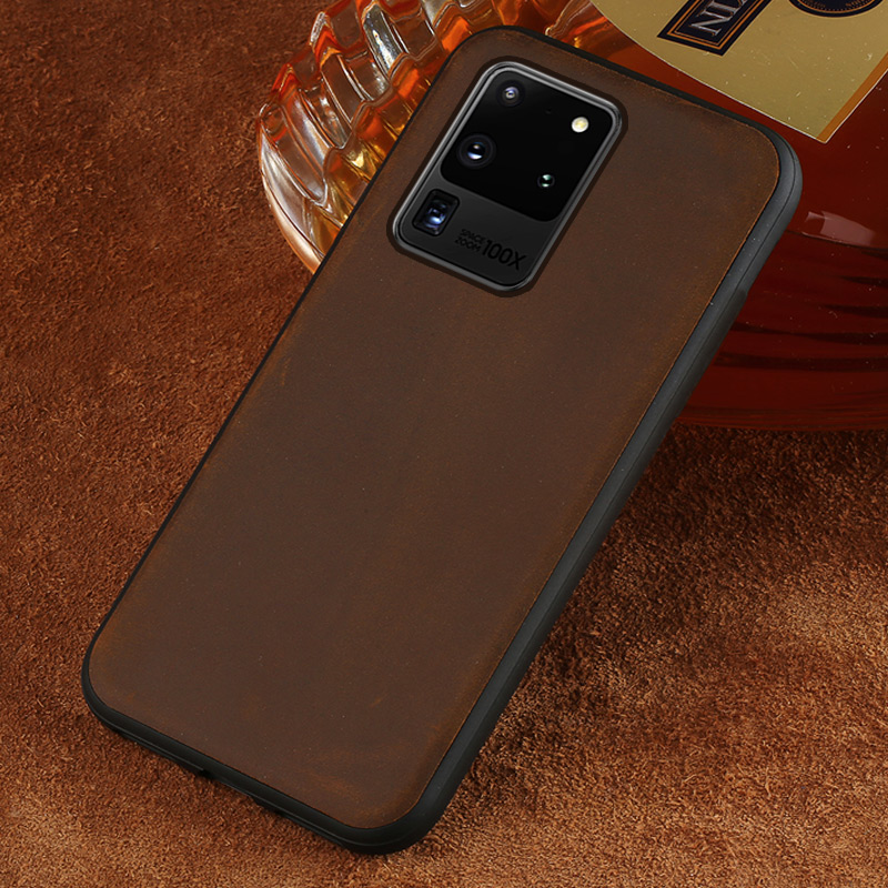 Genuine PULL-UP Leather Cell <font><b>Phone</b></font> Case for <font><b>Samsung</b></font> Galaxy S20 Ultra S8 S9 S10 Plus <font><b>A50</b></font> A51 A70 A71 A60 A9 A5 J4 J6 2018 Cover image