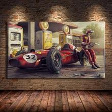 Vintage Auto Poster Ferraris Classic Racing F1 Ras Auto Kunstwerk Wall Art Foto Print Canvas Schilderij Voor Thuis Woonkamer decor
