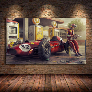 Vintage Car Poster Ferraris Classic Racing F1 Race Car Artwork Wall Art Picture Print Canvas Painting For Home Living Room Decor
