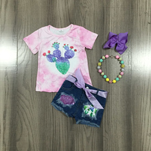 Outfit Girlymax Baby-Girls Jeans Shorts-Set Boutique Pink Ruffles Summer Cactus Tie Dye