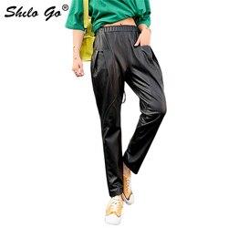 Pantaloni di Cuoio genuino Nero Elastico In Vita Solido Sciolto Pantaloni stile harem 2020 Donne di Autunno Tasca Laterale Donna Moderna casual Pantaloni Carota
