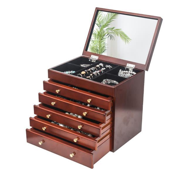 Large Jewelry Organizer Wooden Storage Box 6 Layers Case with 5 Drawers Brown