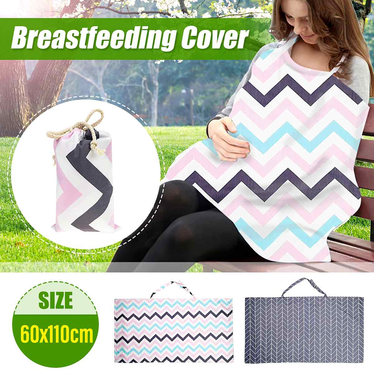 Mother Nursing Cover Outing Breastfeeding Towel Cotton Baby Feeding Anti-glare Nursing Cloth Apron 60x110cm + Storage Bag