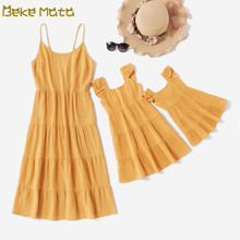 Mom And Daughter Dress Mommy And Me Clothes Ruffle Family Look Mother Daughter Baby Girl Dresses 2020 Family Matching Outfits family matching dress mom and daughter dress sleeveless family look mother daughter dresses mommy and me clothes baby romper set