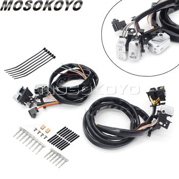 """Chrome Botton Handlebar Switch For Harley 2007-2010 Turn Signals Lights Horn Clutch Kill Switches Control w/ 45"""" Wiring Harness"""