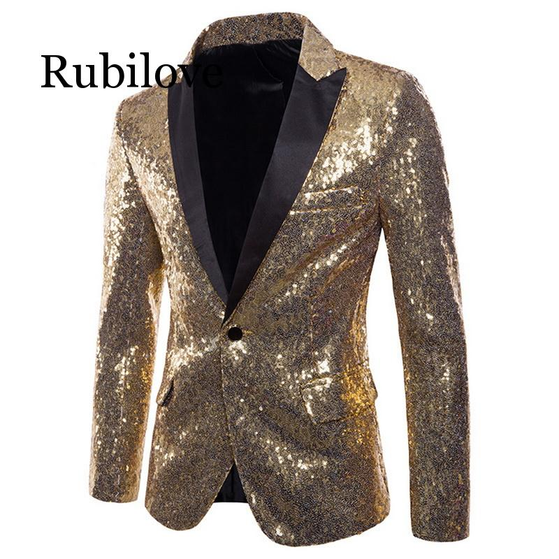 <font><b>Mens</b></font> <font><b>Sequins</b></font> Suit <font><b>Blazer</b></font> <font><b>Jacket</b></font> Male Slim Club Stage <font><b>Blazer</b></font> Formal Wedding 2019 Brand Shiny Glitter Embellished <font><b>Blazer</b></font> image