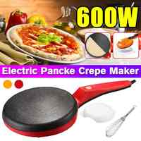 3Pcs/set Household Non-Stick Crepe Maker Pan Electric Pancake Cake Machine Frying Griddle Portable Kitchen Baking Tool 220V 600W