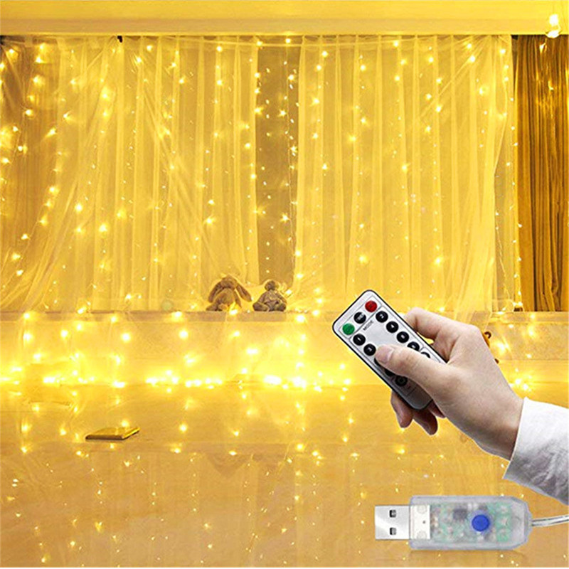 Led Fairy Lights Curtain USB With Remote Twinkle Holiday Garland Copper Wire String Lights Bedroom Party Decor Christmas Lights