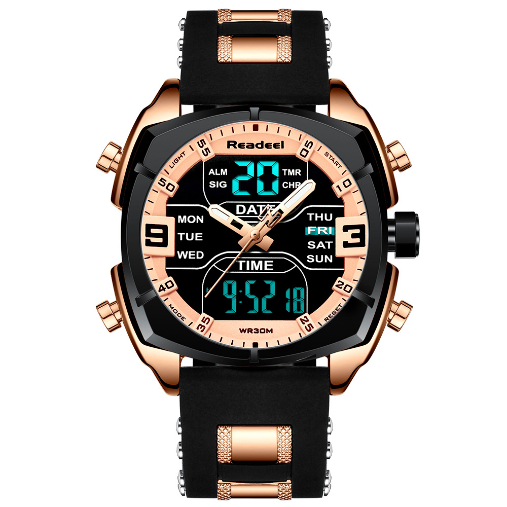 Mens Watches Luxury Brand Men Sports Watches Men's Quartz LED Digital Clock Male Rubber Military Wrist Watch Relogios Masculinos