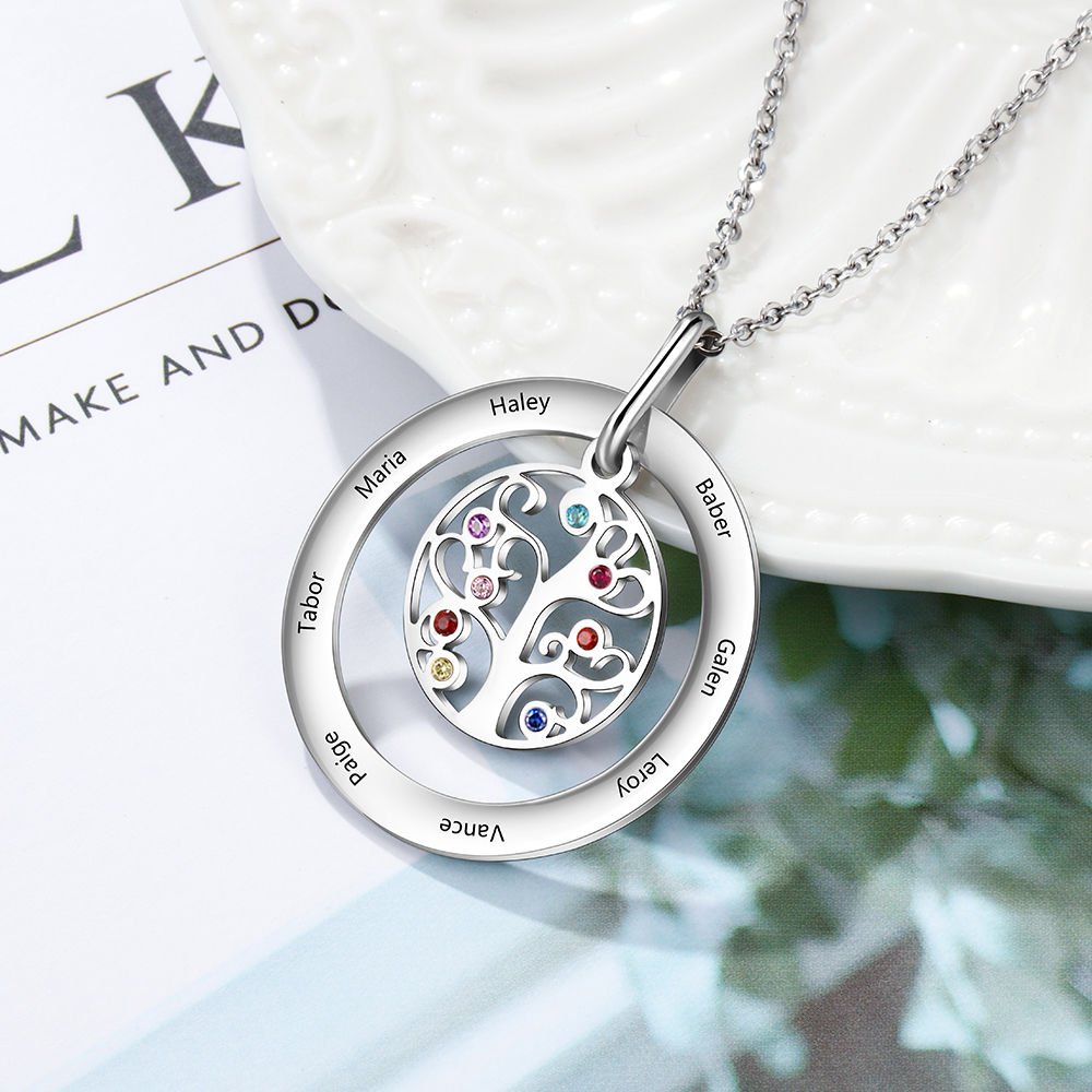 Personalized Family Necklace With 8 Birthstones Custom Tree Of Life Necklace Engraved Name Stainless Steel Jewelry Gift For Mom