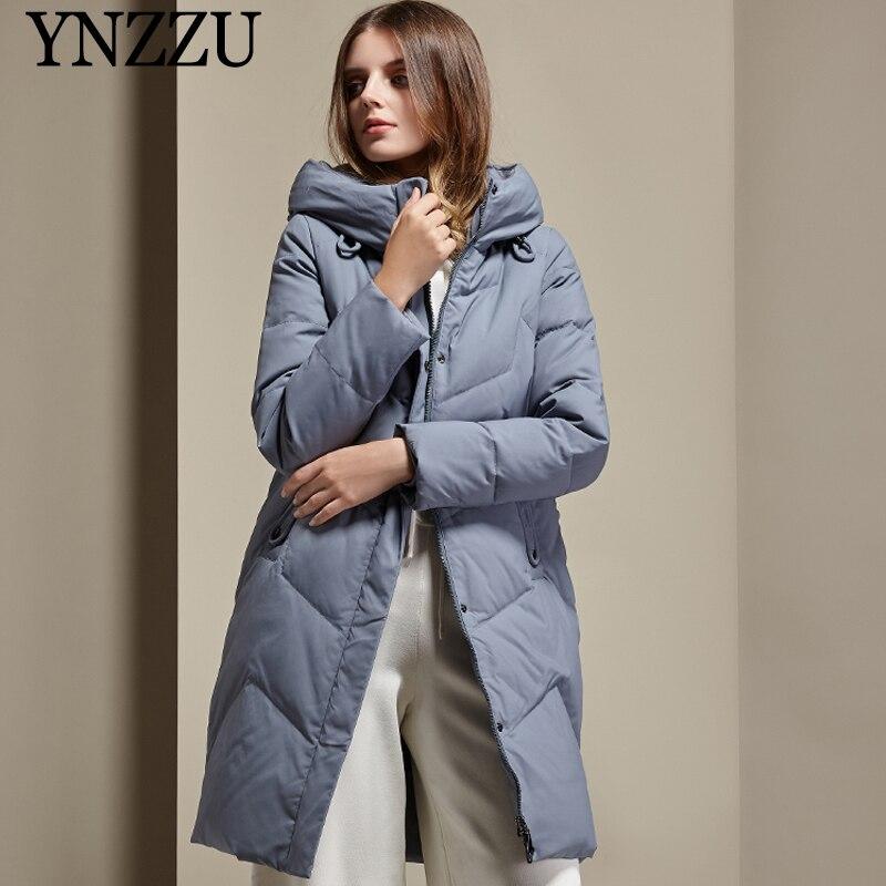 Large size Women Long   Down   jacket 2019 Winter Elegant With Hooded Female   Down     coats   Casual Windproof Warm Outwear YNZZU 9O082