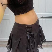 Sweetown Lace Up Goth Y2K Pleated Skirt Woman Punk Style Dark Academia Aesthetic Vintage 90s Streetwear Black Dance Mini Skirts