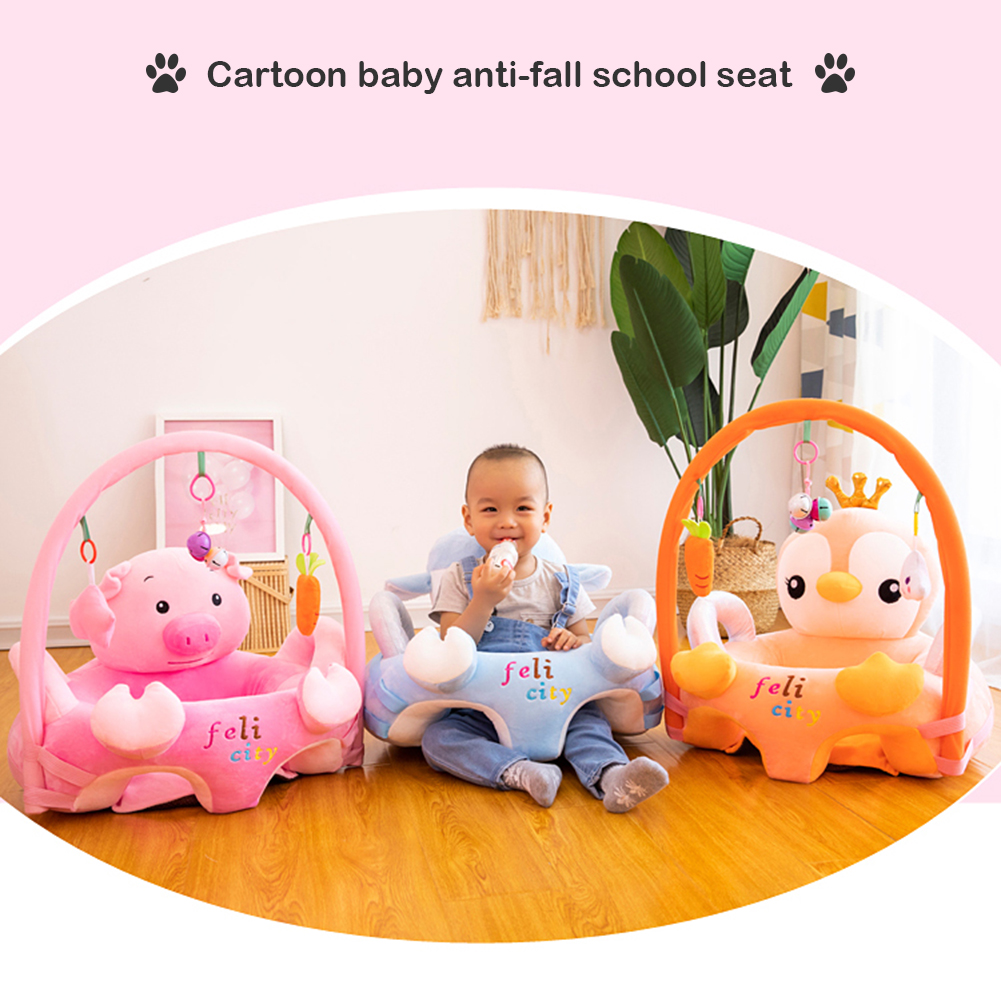 Cute Adorable Baby Chair Sofa Cartoon Cover Cartoon Baby Sofa Support Seat Cover Learning To Sit Plush Chair W/o Filler
