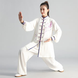 Image 2 - New Tai Chi Chinese Dress Set for Women Kung Fu Chinese Traditional Clothings Clothes for Women Hand painted Plum Wushu Uniform