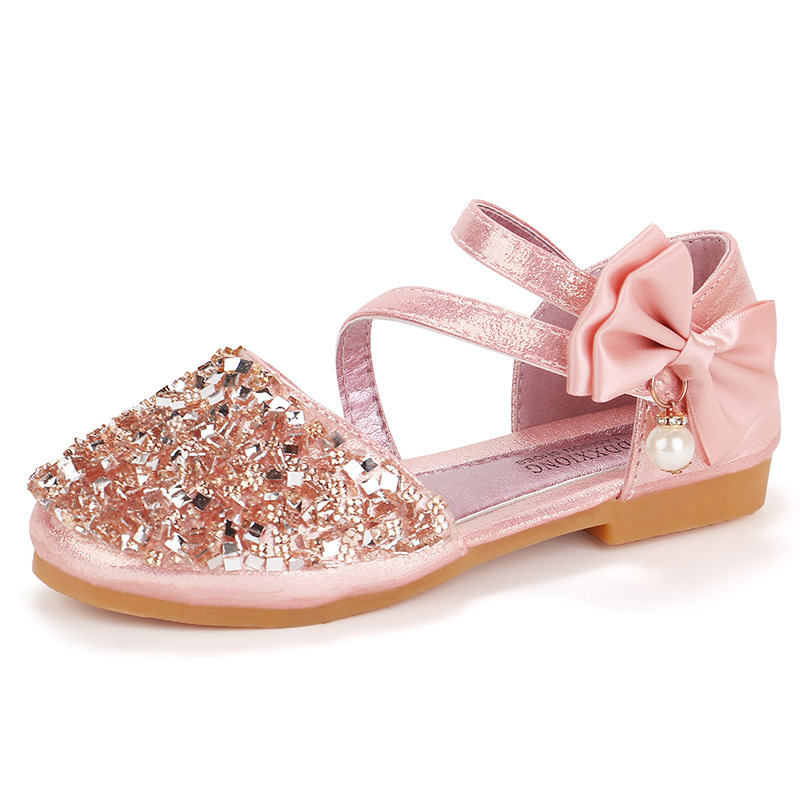 2020 New Children Sandals Girl High Heels Princess Shoes For Girls Glitter Bowtie High Heel Sandals Dress Party Shoe Size 21-36